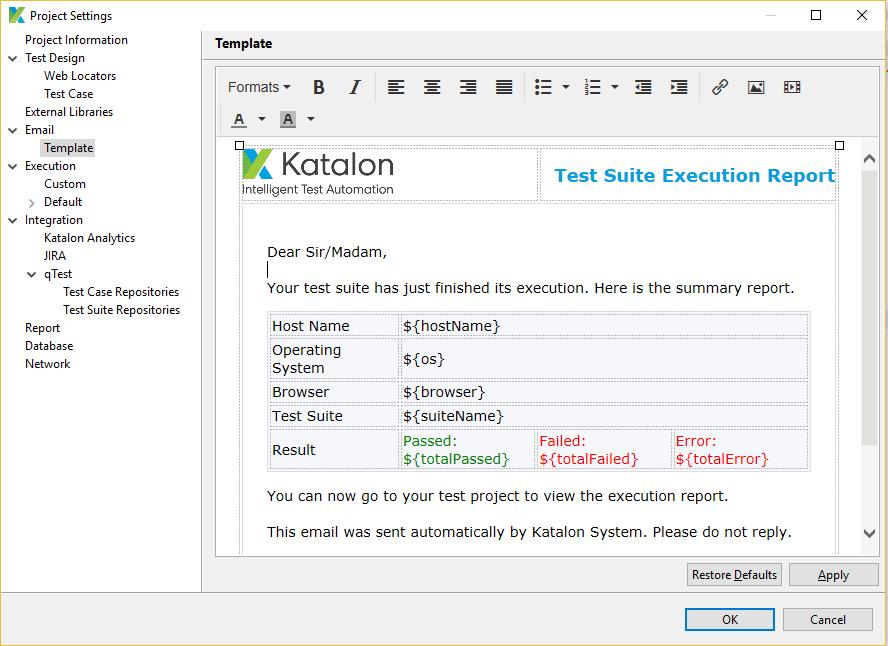 Katalon Studio Email Notification