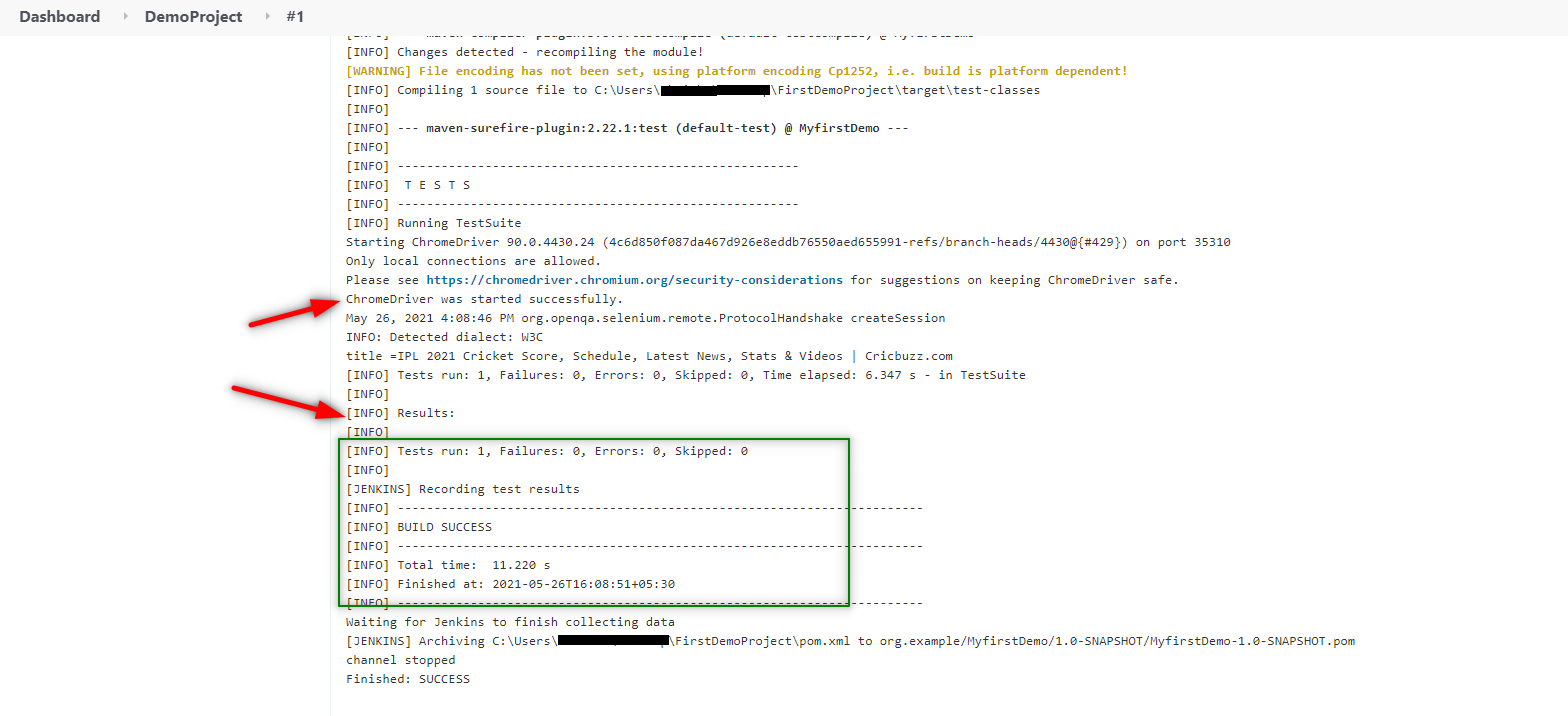 Jenkins Integration with Selenium Console Output